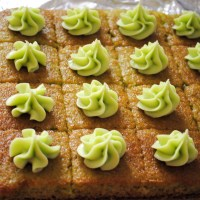Eggless Pistachio Cake with Thandai Buttercream