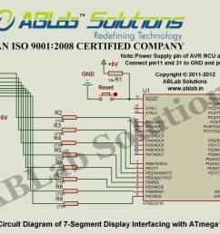 7 segment display interfacing with avr atmega16 microcontroller circuit diagram ablab [ 2157 x 1513 Pixel ]