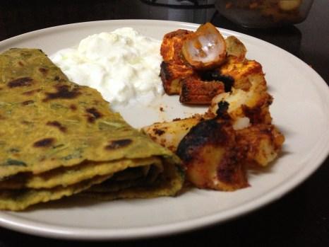 Aloo (Potato) kebab and paneer kebab w/the beauty and some yogurt!