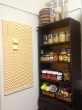 Chevron covered pin boards, small pantry space