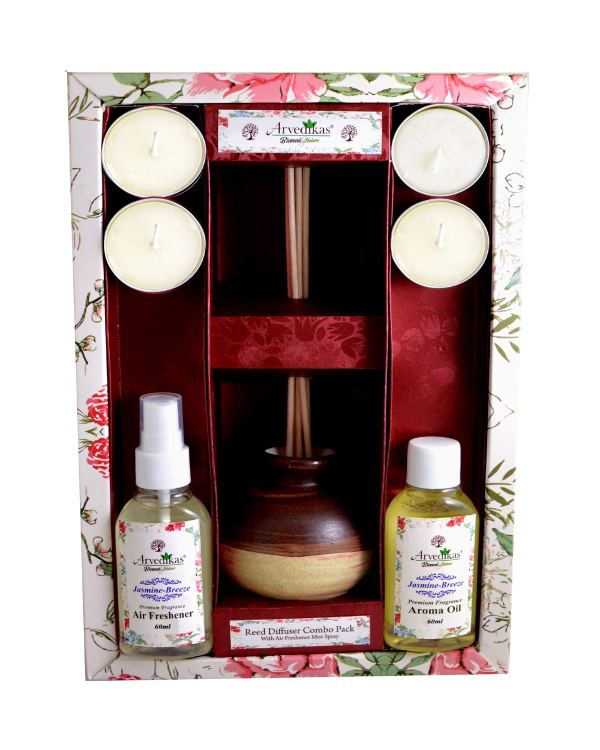 Fragrance Reed Diffuser Set Combo Gift Pack with Air Freshener Spray