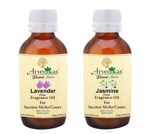 Set of 2 Arvedikas Premium Levender & Jasmine Fragrance Oils Making Agarbatti / Incense Sticks