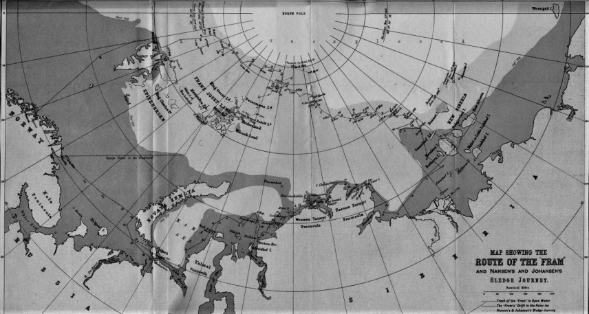 The route of Fram (Archive, Norwegian Polar Institute)