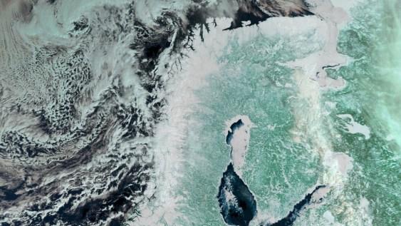 Satellittbilde over de skandinaviske landene. FOTO: AFP