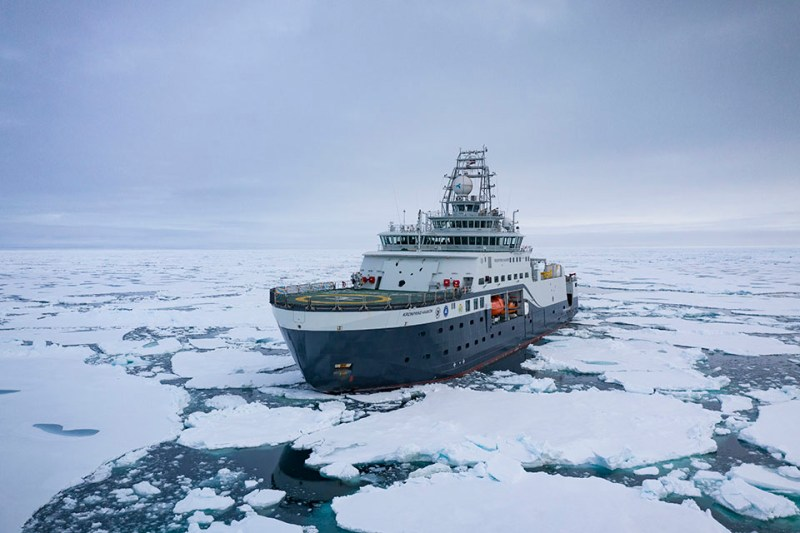 Research vessel in Barents Sea