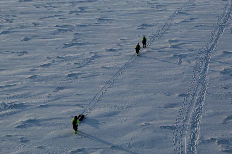 Sea ice and snow thickness transect (Photo: Sebastian Gerland, Norwegian Polar Institute).