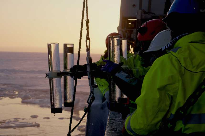 "The ""traps"" are just jars: They are attached to the rope (""mooring"") at different depths, so they can collect the sinking material. Photo: Christine Gawinski, UiT."