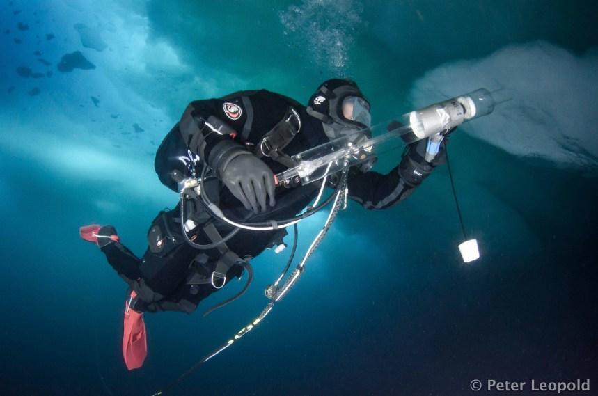 The author, Mikko Vihtakari, collecting a sample of under ice algae using a slurp gun (photo: Peter Leopold).
