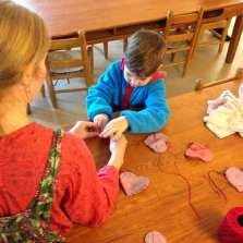 Potomac Crescent Waldorf School Mixed-Age Kindergarten handwork craft sewing Valentine heart
