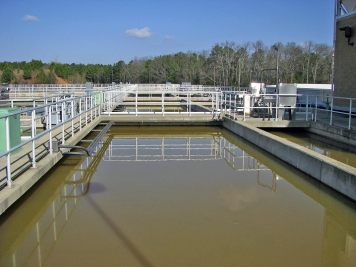 Raw water with chemicals added is sent to the flocculators. All ten flocculators are horizontal paddles and over/under baffles. Stirring is done at progressively slower speeds, called step flocculation, as the mixture proceeds through the three chambers of the flocculator.