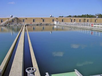 Water is distributed from the flocculators into one of twelve settling basins. The majority of the floc created by chemical addition drops to the bottom of these basins because of the density and weight of the floc.