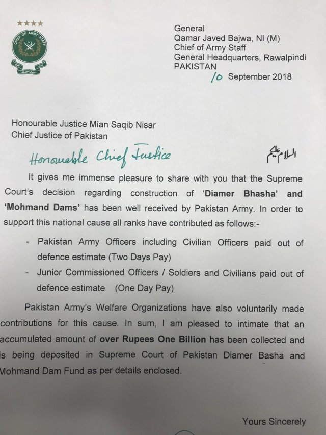 Pakistan Army dam fund donation