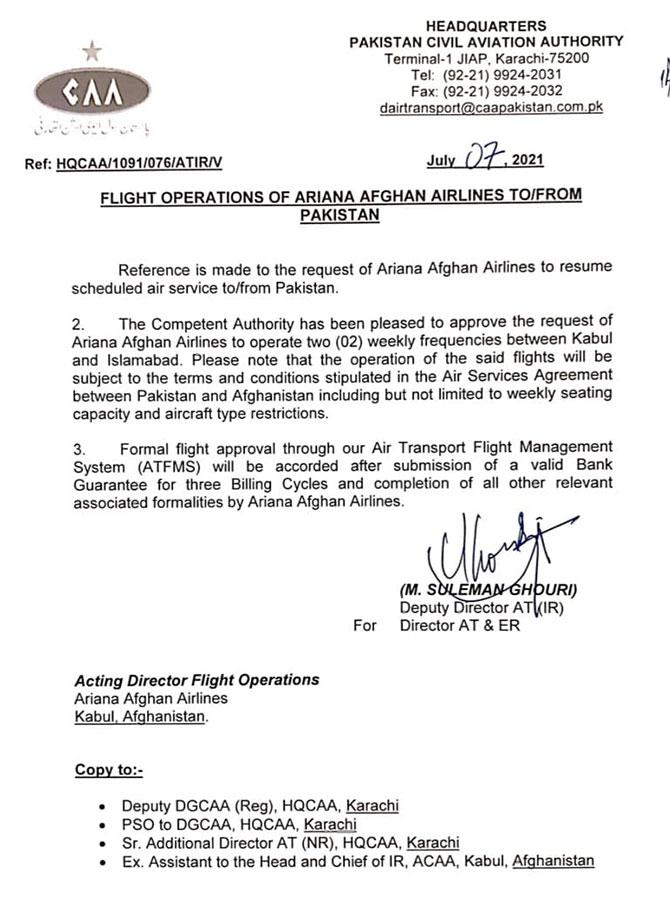 caa ariana afghan airlines flights pakistan