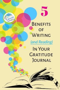 Colored bubbles coming from a book. 5 Gratitude Journaling Benefits