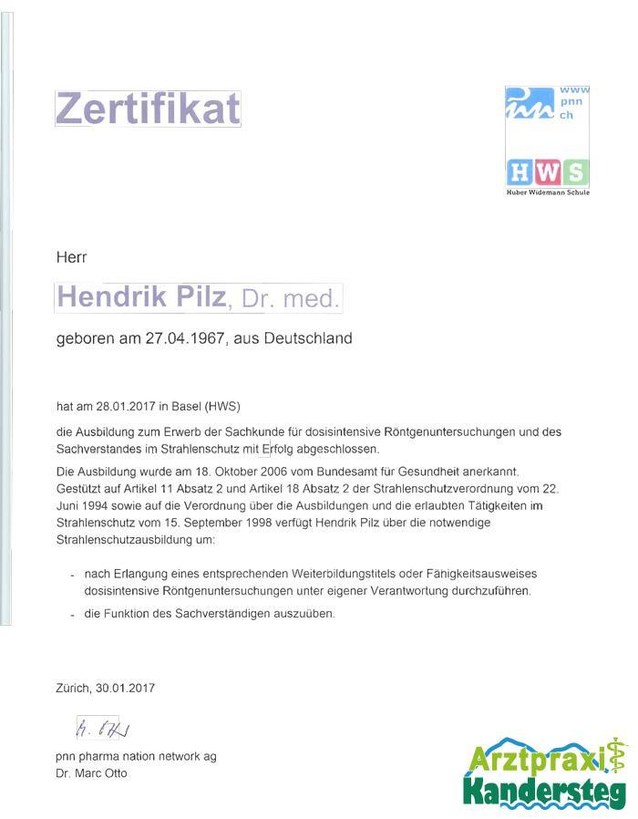 Strahlenschutz-Zertifikat | Arztpraxis Kandersteg