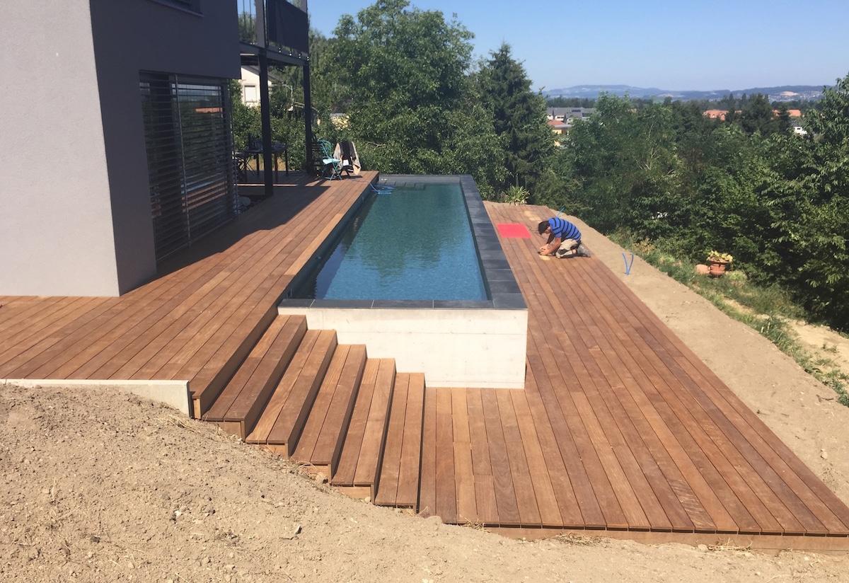 Terrasse En Bois Avec Piscine | Terrasse Autour Piscine Hors ...