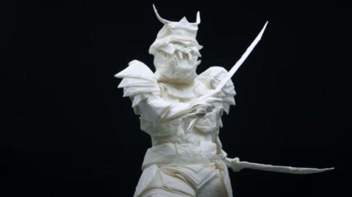 Este samurái de origami está hecho con una única hoja de papel - AS.com