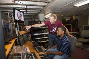 Michael Wilk in Moody Music Building recording studio