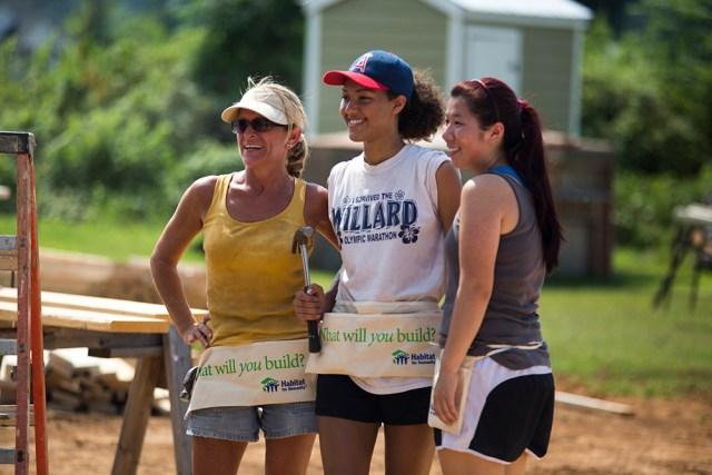 Three women at construction site