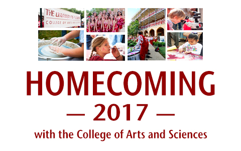 Banner with the words Homecoming 2017 with the College of Arts and Sciences