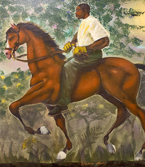 Painting of a man riding a horse in a forest