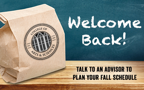 Chalkboard banner with the words: Welcome Back! Talk to an advisor to plan your fall schedule