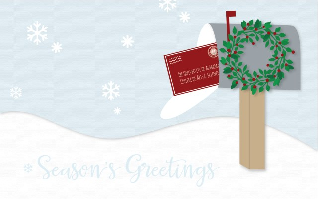 Banner of a snowy landscape with a mailbox and a snow hill with the words season's greetings