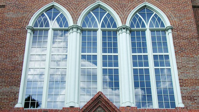 the windows on the second floor of Clark Hall