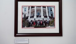 Judy Bonner is pictured with President Barack Obama and with members of the UA football team on the South Lawn in front of the White House in Washington D.C. after the Crimson Tide's BCS Championship win in 2012.