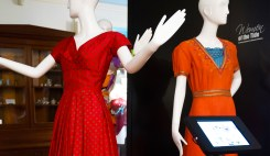 Party dress ca. 1950s (left) and a salmon dress ca. 1936 designed by Marjorie Neal Duncan (right)