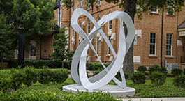 a 14-foot tall white sculpture in Woods Quad