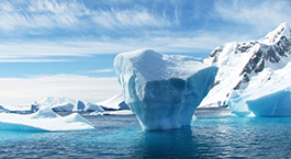 an iceberg floating in Antarctica