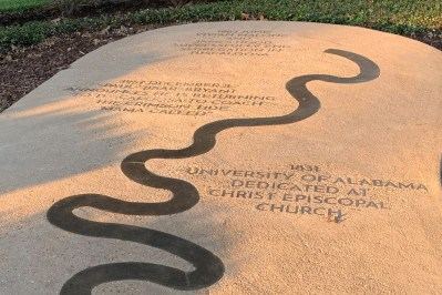 bronze timeline of monumental dates in Tuscaloosa's history embedded in cement