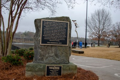 bicentennial timeline, time capsule, and Minerva sculpture at Manderson Landing