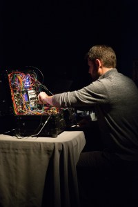 Dr. Andrew Dewar with his synthesizer. i