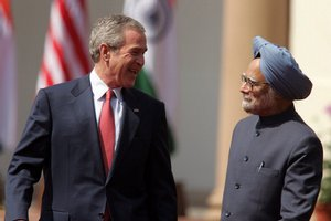 American President George W. Bush and Indian Prime Minister Manmohan Singh