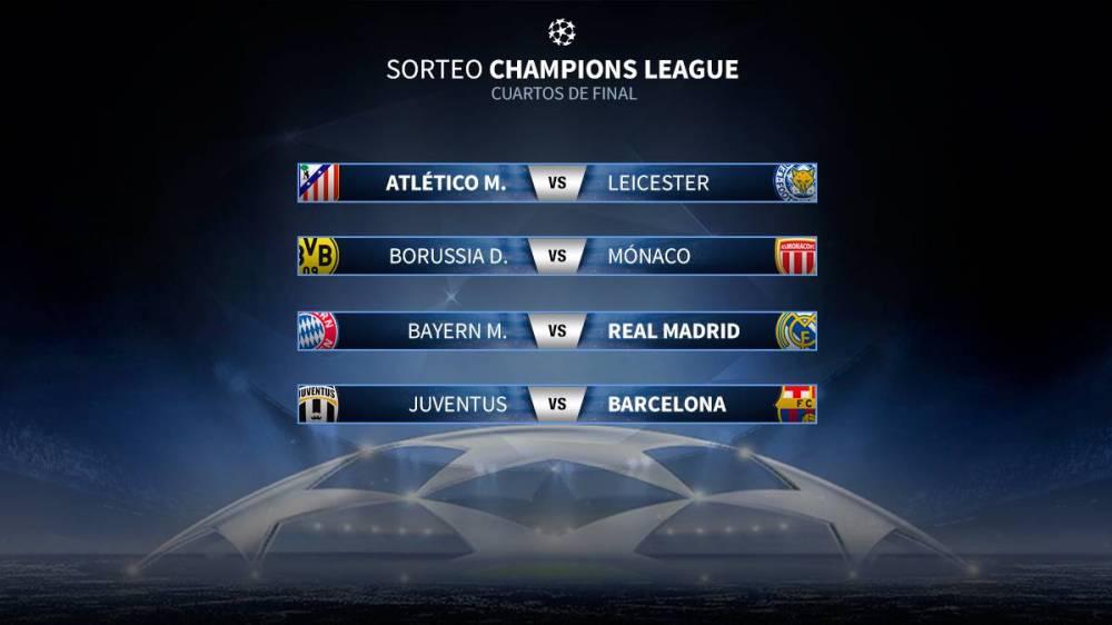 Emparejamiento Champions Atlético-Leicester; Bayern-Real Madrid y Juventus-Barcelona