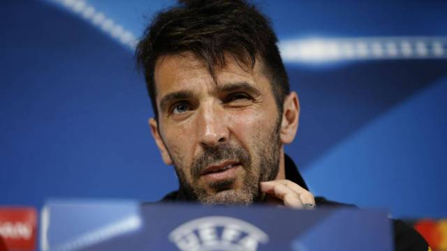 Juventus' goalkeeper Gianluigi Buffon attends the press conference on the eve of the UEFA Champions League football match Juventus Vs FC Barcelona on April 10, 2017 at the 'Juventus Stadium' in Turin.