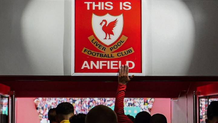 'This is Anfield' sign in the Liverpool locker room tunnel
