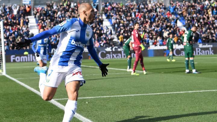 El nuevo delantero del Barcelona, Martin Braithwaite, con el Leganés.