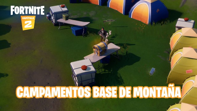 fortnite chapter 2 season 1 challenges 8-ball vs white ball challenge visit base camps of the mountain