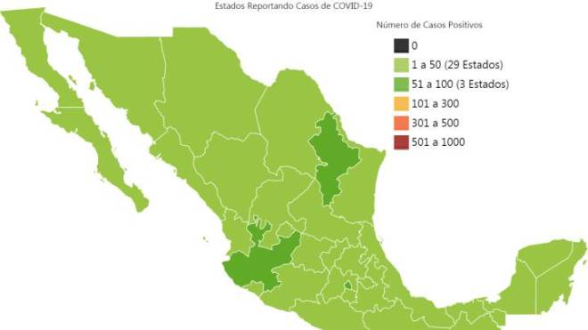Mapa y casos de coronavirus en México por estados hoy 26 de marzo