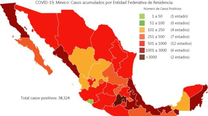 Map and cases of coronavirus in Mexico by states today May 13