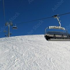 Buy Ski Lift Chair Navy Blue Rocking Cushions On A Winter Bright Day This Stock Photo And