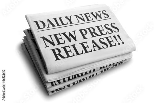 New press release daily newspaper headline