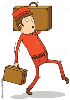 bell boy with suitcases