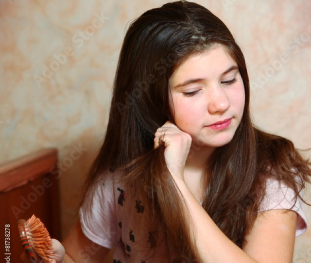 Beautiful Teen Girl Try To Comb Her Long Dark Thick Hair