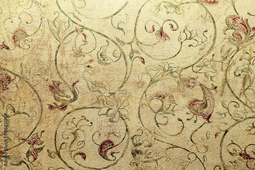 Vintage Shabby Chic Wallpaper With Floral Victorian Pattern Wall Mural Inna Felker