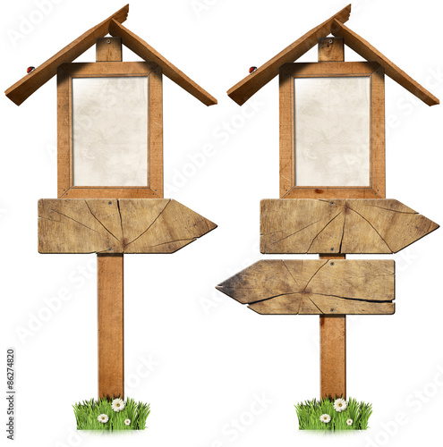 wooden directional signs with