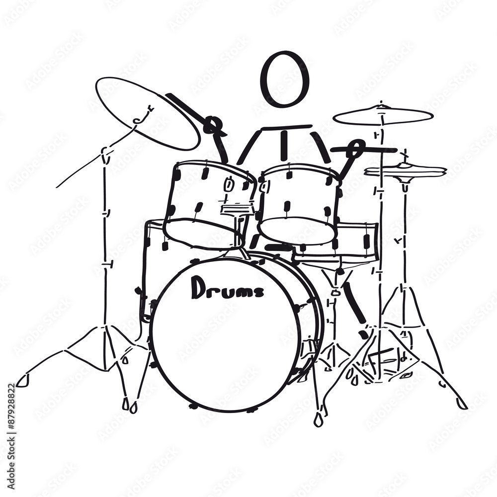 Drum Set Up Diagram Also With Black And White Drum Set
